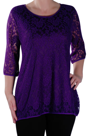Lace Round Neck 3/4 Sleeve Tunic Top