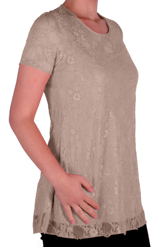 Evelina Lined Short Sleeve Floral Lace Tops