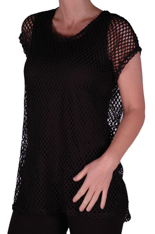 EyeCatch - Freda Ladies Crochet Knit Top with Vest One Size Black