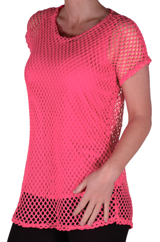 EyeCatch - Freda Ladies Crochet Knit Top with Vest One Size Coral