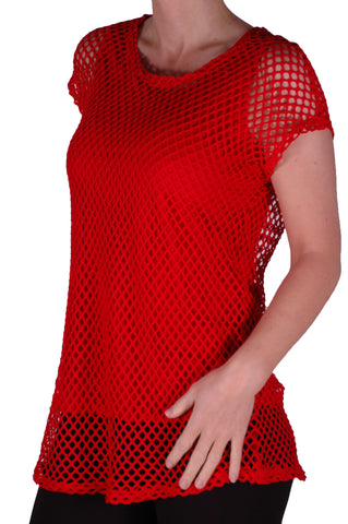 EyeCatch - Freda Ladies Crochet Knit Top with Vest One Size Red
