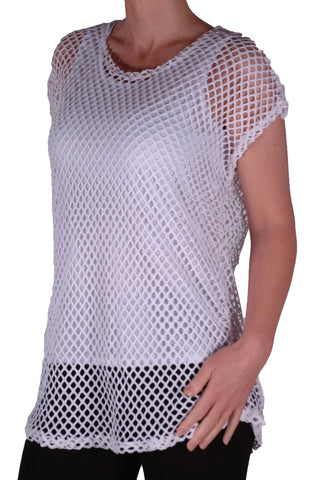 EyeCatch - Freda Ladies Crochet Knit Top with Vest One Size White
