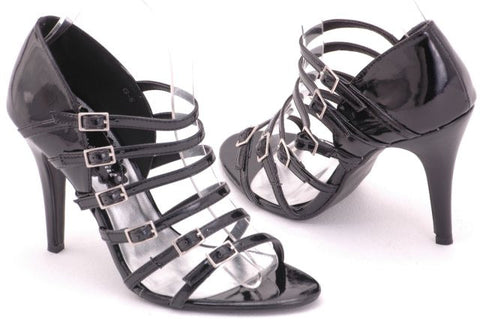 EyeCatchShoes - Viper Sexy Strappy Shoes Black Size 8