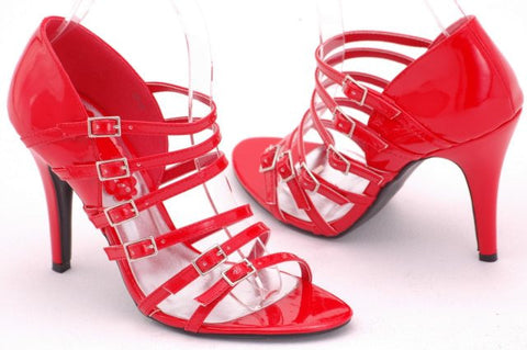 EyeCatchShoes - Viper Sexy Strappy Shoes Red Size 8