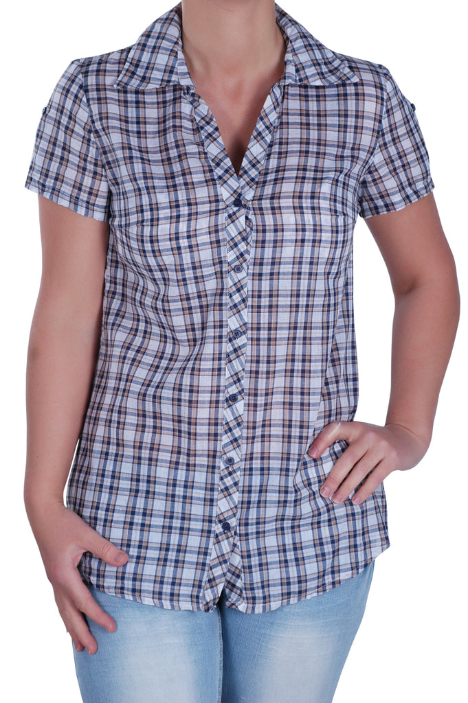 1Checkered Collared Plus Size Shirt