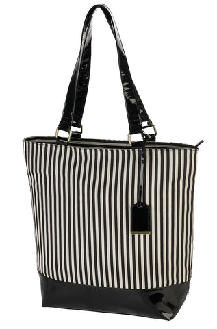 Gwen Ladies Patent Canvas Stripe Bag Black White