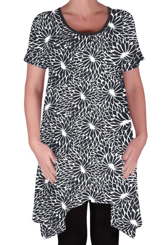 Hope Long Tunic Flared Uneven Hem Print Short Sleeve Top