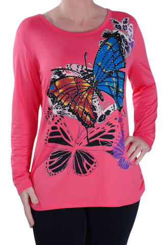 Butterfly Print Long Sleeve Tops