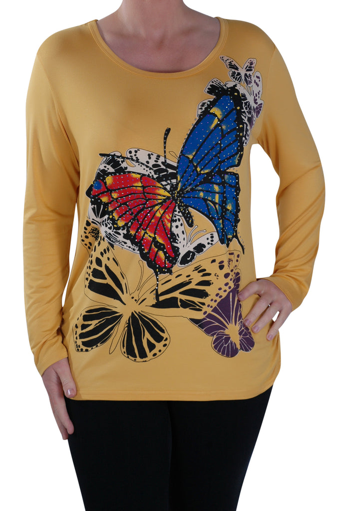 1Butterfly Print Long Sleeve Tops