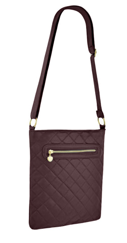 Quilted Faux Leather Zipped Cross Body Bag
