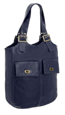 EyeCatchBags - Veronique Bucket Style Shoulder Bag Navy