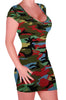 Jane V Neck Cap Sleeve Camouflage Bodycon