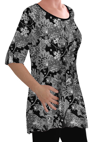 EyeCatch - Eliana Ladies Print Blouse Scoop Neck Tunic Womens Swing Flared T-Shirt Top