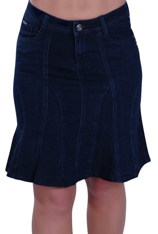 Knee Length Swing Denim Skirt