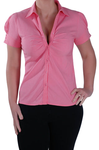 Ruffle Work Short Sleeve Blouse