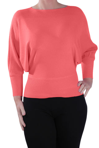 Batwing Boat Neck Fine Knit Stretch Jumper