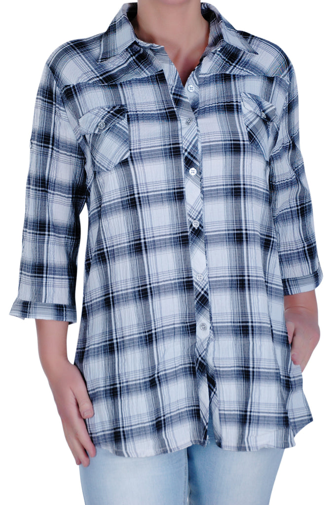 1Checkered 3/4 Sleeve Collared Plus Size Shirt