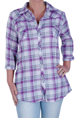Checkered 3/4 Sleeve Collared Plus Size Shirt