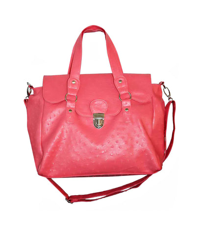 Designer Ostrich Effect Press Lock Handbag