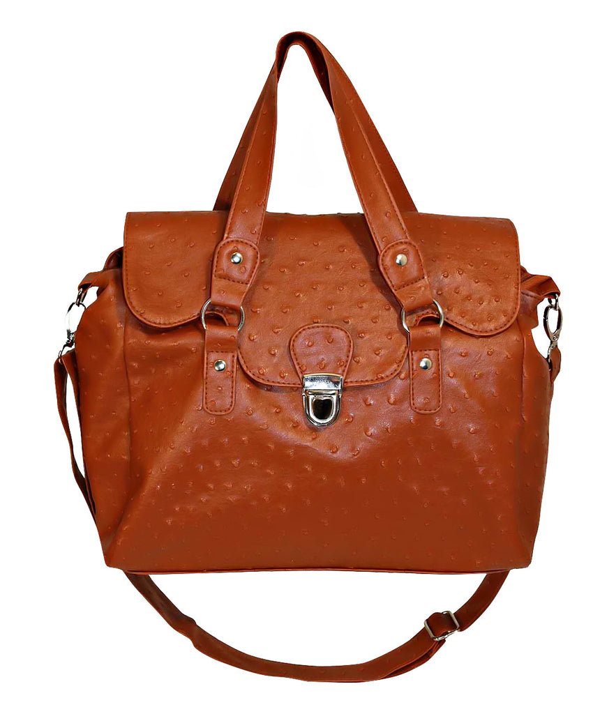 1Designer Ostrich Effect Press Lock Handbag