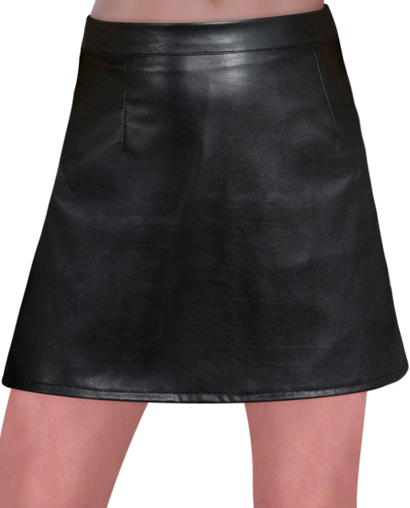 1EyeCatch - Womens Faux Leather Look PVC A Line Mini Short Ladies Skirt