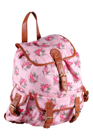 Canvas Horses Pattern Faux Leather BackPack