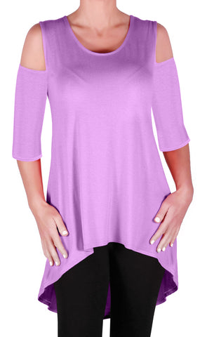 Ruby Shoulder Cut Dip Hem Tunic Top