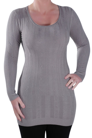 Scoop Neck Stretch Cable Jumper