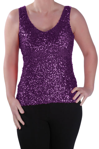 Sequined Sleeveless Tunic Top