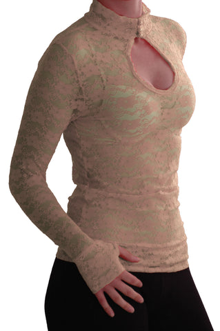 EyeCatch - Ladies Turtle Neck Long Sleeve Fitted Floral Lace Keyhole Top One Size Beige