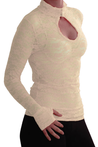 EyeCatch - Ladies Turtle Neck Long Sleeve Fitted Floral Lace Keyhole Top One Size Cream