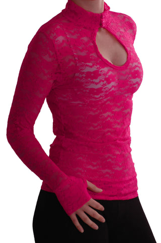EyeCatch - Ladies Turtle Neck Long Sleeve Fitted Floral Lace Keyhole Top One Size Fushia