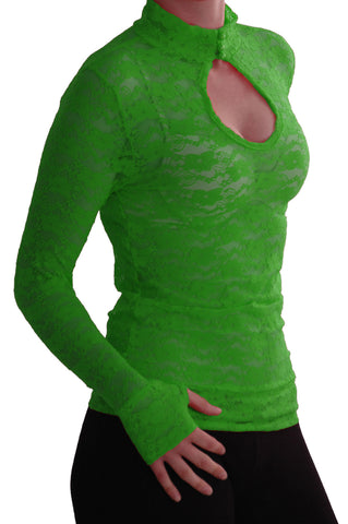EyeCatch - Ladies Turtle Neck Long Sleeve Fitted Floral Lace Keyhole Top One Size Jade Green