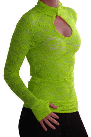 EyeCatch - Ladies Turtle Neck Long Sleeve Fitted Floral Lace Keyhole Top One Size LimeGreen