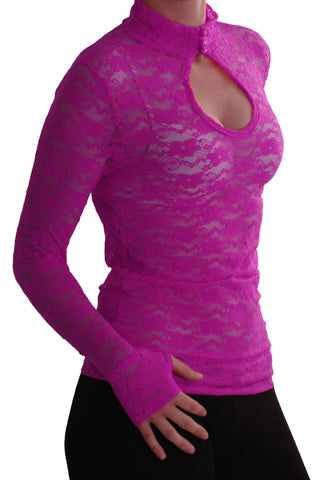 EyeCatch - Ladies Turtle Neck Long Sleeve Fitted Floral Lace Keyhole Top One Size Magenta