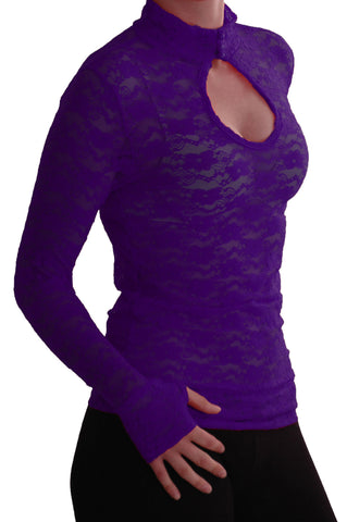 EyeCatch - Ladies Turtle Neck Long Sleeve Fitted Floral Lace Keyhole Top One Size Purple
