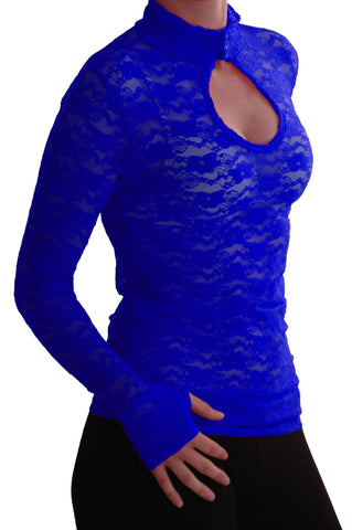 EyeCatch - Ladies Turtle Neck Long Sleeve Fitted Floral Lace Keyhole Top One Size Royal Blue