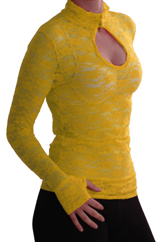 EyeCatch - Ladies Turtle Neck Long Sleeve Fitted Floral Lace Keyhole Top One Size Yellow