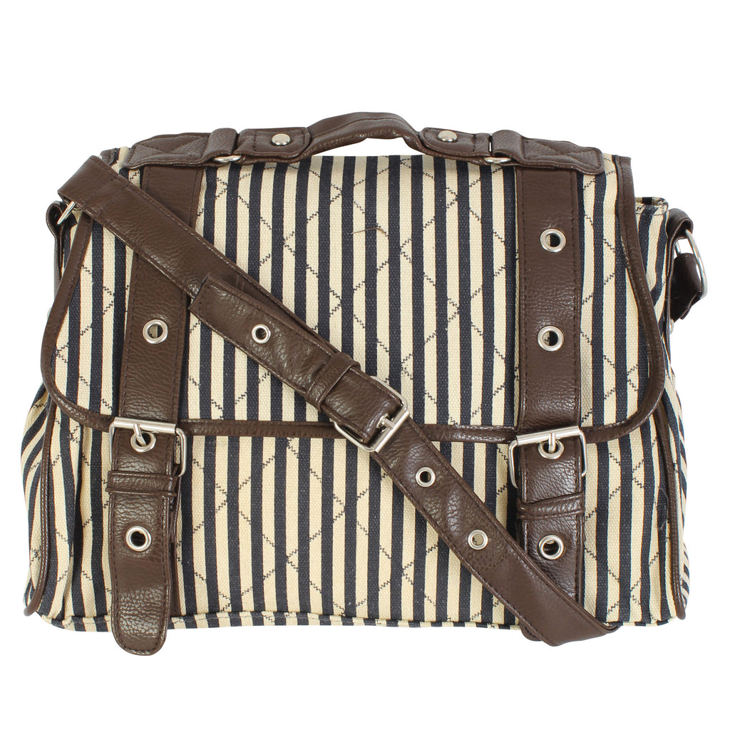 Stripe Aztec Canvas Cross Body Bag