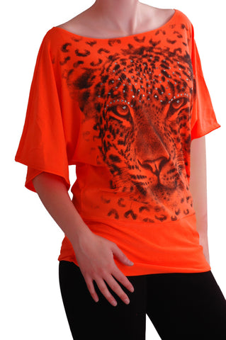 Animal Graphic Print Short Sleeve Neon Tops