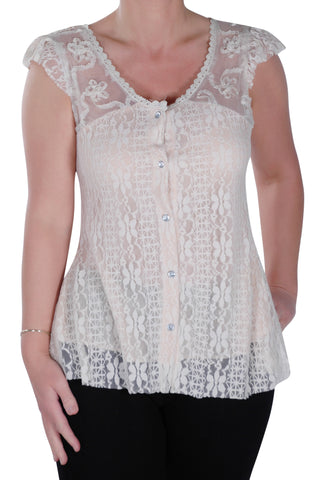 Sleeveless Lace Button Up Tops