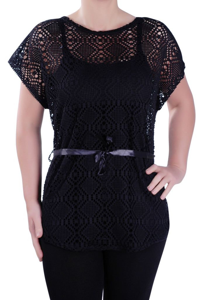 1Grecian Crochet Lace Tunic Top