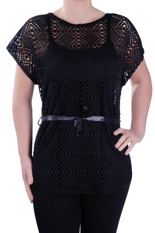 Grecian Crochet Lace Tunic Top
