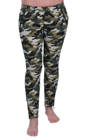 Camouflage Print Fitted Trousers