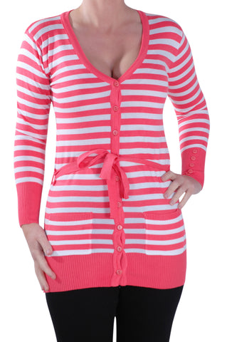 Striped Belted Fine Knit Cardigan