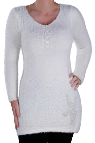Long Sleeve Scoop Neck Studded Jumper