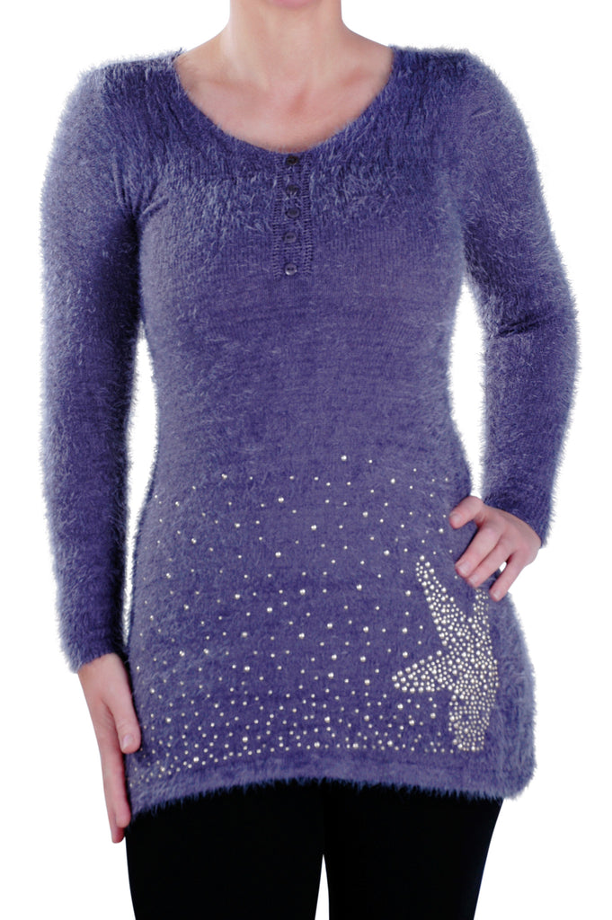 1Long Sleeve Scoop Neck Studded Jumper