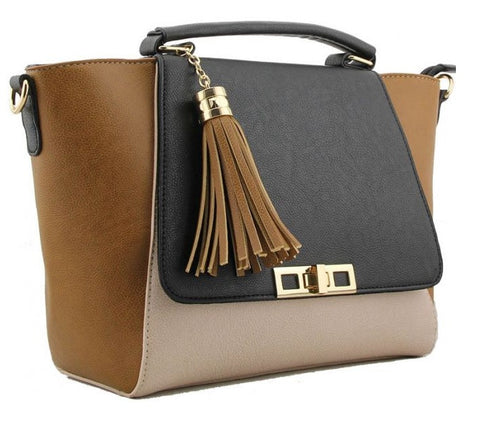 Premium Faux Leather Tri-Tone Handbag