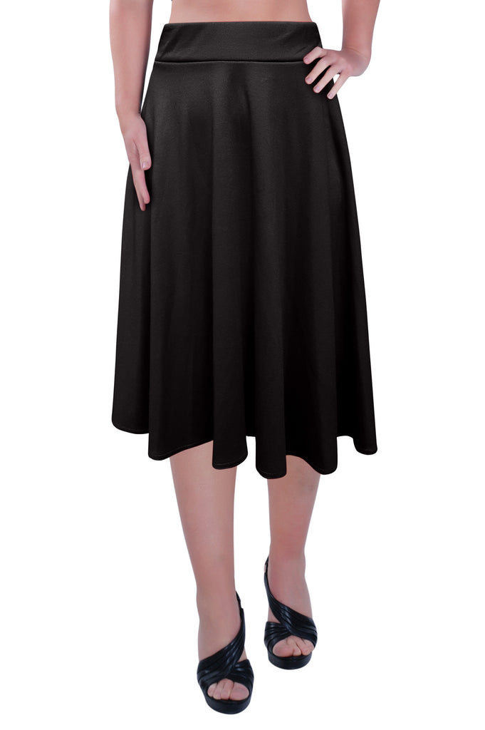 1Womens Plus Size Elastic Waist Ladies Knee Length Plain Skater Flared Skirt Sizes 14 to 28