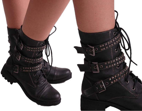 Rock Biker Military Buckle Studded Boots